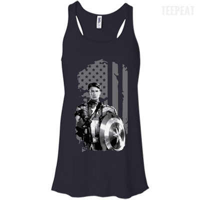 CustomCat Apparel Bella+Canvas Flowy Racerback Tank / Midnight / X-Small Captain America Flag Ladies Tee