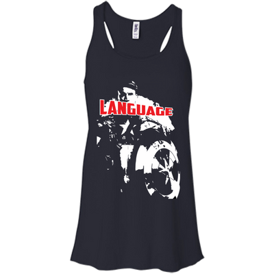CustomCat Apparel Bella+Canvas Flowy Racerback Tank / Midnight / X-Small Captain America Language Ladies Tee