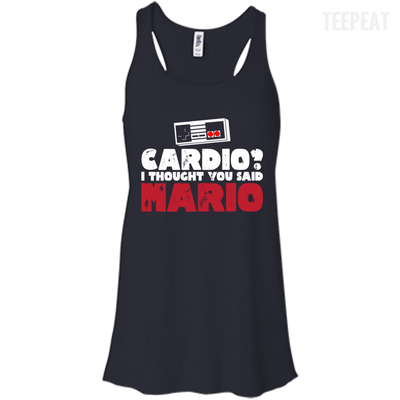 CustomCat Apparel Bella+Canvas Flowy Racerback Tank / Midnight / X-Small Cardio I Thought You Said Mario Ladies Tee