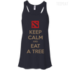 CustomCat Apparel Bella+Canvas Flowy Racerback Tank / Midnight / X-Small Dota 2 Keep Calm Eat Tree Ladies Tee