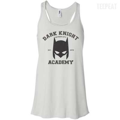 CustomCat Apparel Bella+Canvas Flowy Racerback Tank / White / X-Small Dark Knight Academy Tee