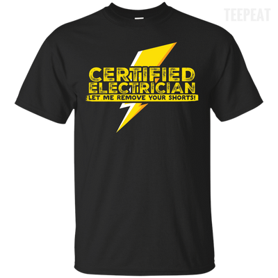 CustomCat Apparel Custom Ultra Cotton T-Shirt / Black / Small Certified Electrician Tee