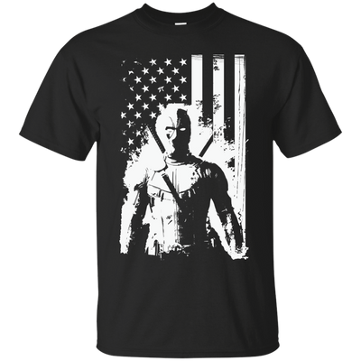 CustomCat Apparel Custom Ultra Cotton T-Shirt / Black / Small Deadpool Flag Tee