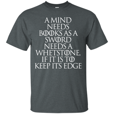 CustomCat Apparel Custom Ultra Cotton T-Shirt / Dark Heather / Small A Mind Needs Books Tee