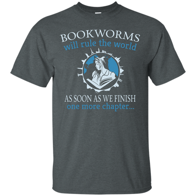 CustomCat Apparel Custom Ultra Cotton T-Shirt / Dark Heather / Small Bookworms Will Rule The World Tee