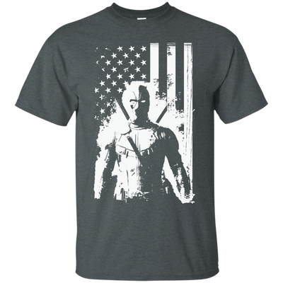 CustomCat Apparel Custom Ultra Cotton T-Shirt / Dark Heather / Small Deadpool Flag Tee