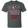 CustomCat Apparel Custom Ultra Cotton T-Shirt / Dark Heather / Small Deadpool Installing Muscles Tee