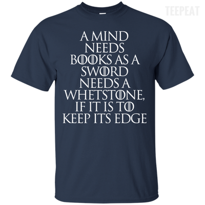 CustomCat Apparel Custom Ultra Cotton T-Shirt / Navy / Small A Mind Needs Books Tee