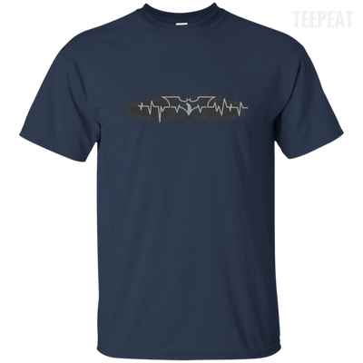 CustomCat Apparel Custom Ultra Cotton T-Shirt / Navy / Small Bat Pulse Tee