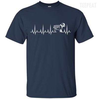 CustomCat Apparel Custom Ultra Cotton T-Shirt / Navy / Small Cardiogram Dog Tee