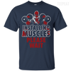 CustomCat Apparel Custom Ultra Cotton T-Shirt / Navy / Small Deadpool Installing Muscles Tee