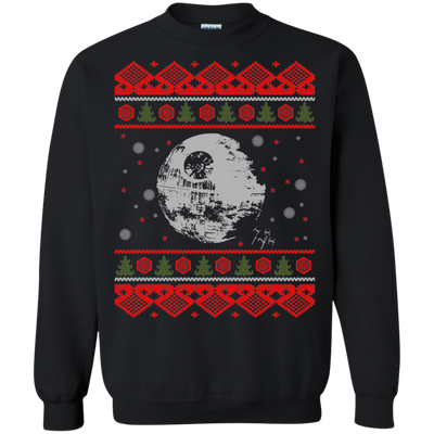 CustomCat Apparel G180 Gildan Crewneck Pullover Sweatshirt  8 oz. / Black / Small Death Star - Ugly Sweater