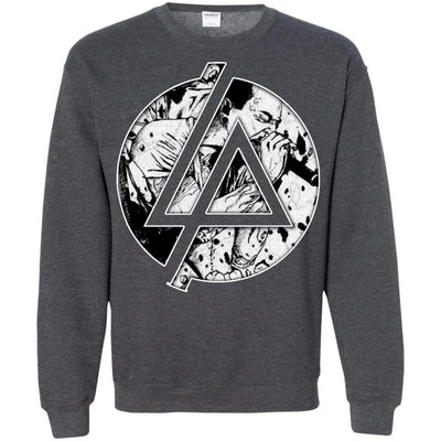 CustomCat Apparel G180 Gildan Crewneck Pullover Sweatshirt  8 oz. / Dark Heather / Small Chester Linkin Park Logo Tee