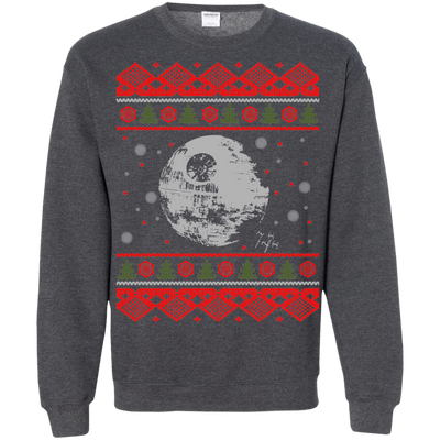 CustomCat Apparel G180 Gildan Crewneck Pullover Sweatshirt  8 oz. / Dark Heather / Small Death Star - Ugly Sweater