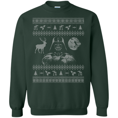 CustomCat Apparel G180 Gildan Crewneck Pullover Sweatshirt  8 oz. / Forest Green / Small Darth - Ugly Sweater