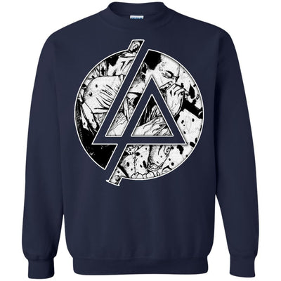 CustomCat Apparel G180 Gildan Crewneck Pullover Sweatshirt  8 oz. / Navy / Small Chester Linkin Park Logo Tee