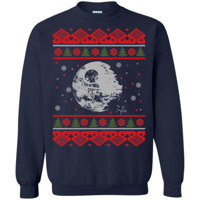 CustomCat Apparel G180 Gildan Crewneck Pullover Sweatshirt  8 oz. / Navy / Small Death Star - Ugly Sweater