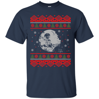 CustomCat Apparel G200 Gildan Ultra Cotton T-Shirt / Navy / Small Death Star - Ugly Sweater