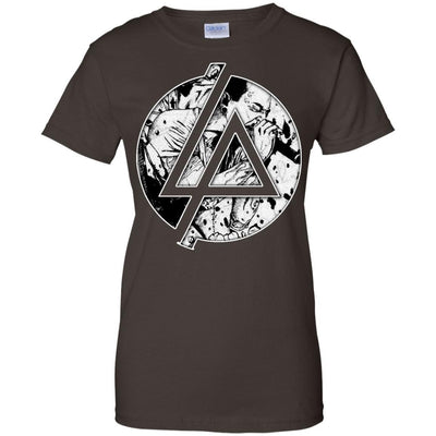 CustomCat Apparel G200L Gildan Ladies' 100% Cotton T-Shirt / Dark Chocolate / X-Small Chester Linkin Park Logo Ladies Tee