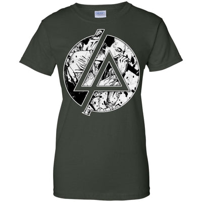 CustomCat Apparel G200L Gildan Ladies' 100% Cotton T-Shirt / Forest Green / X-Small Chester Linkin Park Logo Ladies Tee