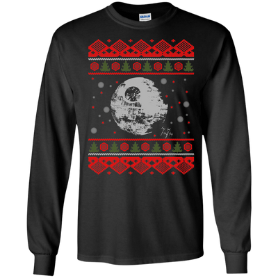 CustomCat Apparel G240 Gildan LS Ultra Cotton T-Shirt / Black / Small Death Star - Ugly Sweater
