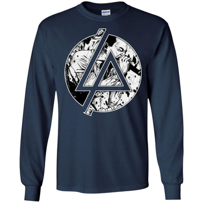 CustomCat Apparel G240 Gildan LS Ultra Cotton T-Shirt / Navy / Small Chester Linkin Park Logo Tee