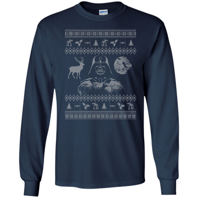 CustomCat Apparel G240 Gildan LS Ultra Cotton T-Shirt / Navy / Small Darth - Ugly Sweater