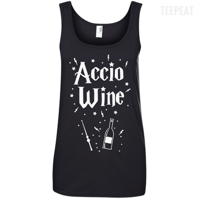CustomCat Apparel Ladies' 100% Ringspun Cotton Tank Top / Black / Small Accio Wine Tee