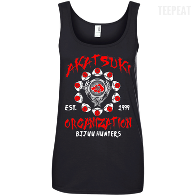 CustomCat Apparel Ladies' 100% Ringspun Cotton Tank Top / Black / Small Akatsuki Organization Ladies Tee