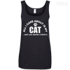 CustomCat Apparel Ladies' 100% Ringspun Cotton Tank Top / Black / Small All I Care About Is My Cat Women Tee