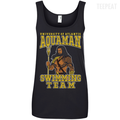 CustomCat Apparel Ladies' 100% Ringspun Cotton Tank Top / Black / Small Aquaman Swimming Team Ladies Tee