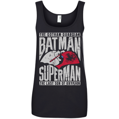 CustomCat Apparel Ladies' 100% Ringspun Cotton Tank Top / Black / Small Batman and Superman Ladies Tee