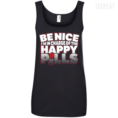 CustomCat Apparel Ladies' 100% Ringspun Cotton Tank Top / Black / Small Be Nice Ladies Tee