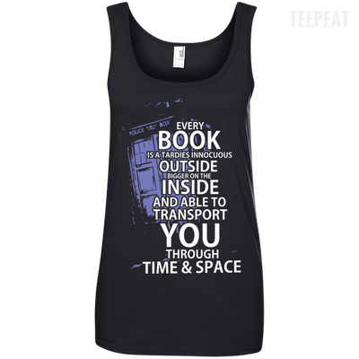 CustomCat Apparel Ladies' 100% Ringspun Cotton Tank Top / Black / Small Book Tardis Ladies Tee