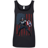 CustomCat Apparel Ladies' 100% Ringspun Cotton Tank Top / Black / Small Captain America Ladies Tee