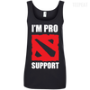 CustomCat Apparel Ladies' 100% Ringspun Cotton Tank Top / Black / Small Dota 2 Proud Support Ladies Tee
