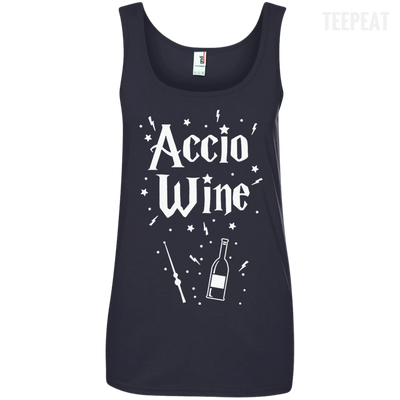 CustomCat Apparel Ladies' 100% Ringspun Cotton Tank Top / Navy / Small Accio Wine Tee