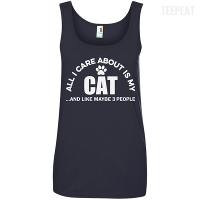 CustomCat Apparel Ladies' 100% Ringspun Cotton Tank Top / Navy / Small All I Care About Is My Cat Women Tee