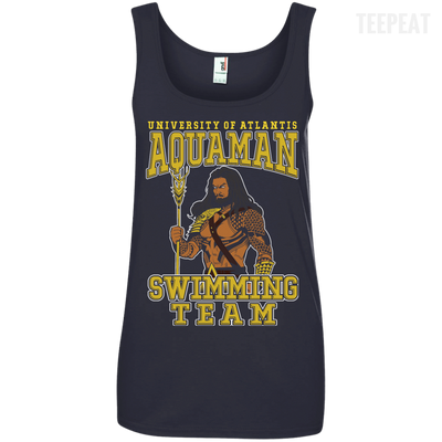 CustomCat Apparel Ladies' 100% Ringspun Cotton Tank Top / Navy / Small Aquaman Swimming Team Ladies Tee