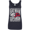 CustomCat Apparel Ladies' 100% Ringspun Cotton Tank Top / Navy / Small Batman and Superman Ladies Tee