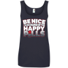 CustomCat Apparel Ladies' 100% Ringspun Cotton Tank Top / Navy / Small Be Nice Ladies Tee