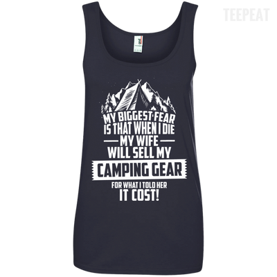 CustomCat Apparel Ladies' 100% Ringspun Cotton Tank Top / Navy / Small Biggest Fear Camping Gear Ladies Tee