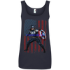 CustomCat Apparel Ladies' 100% Ringspun Cotton Tank Top / Navy / Small Captain America Ladies Tee