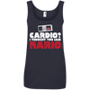 CustomCat Apparel Ladies' 100% Ringspun Cotton Tank Top / Navy / Small Cardio I Thought You Said Mario Ladies Tee