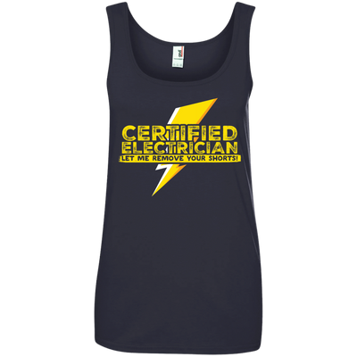 CustomCat Apparel Ladies' 100% Ringspun Cotton Tank Top / Navy / Small Certified Electrician Ladies Tee