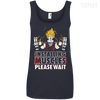 CustomCat Apparel Ladies' 100% Ringspun Cotton Tank Top / Navy / Small DBZ - Installing Muscles Ladies Tee