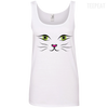 CustomCat Apparel Ladies' 100% Ringspun Cotton Tank Top / White / Small Cat Face Tee