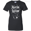 CustomCat Apparel Ladies Custom 100% Cotton T-Shirt / Black / X-Small Accio Wine Tee