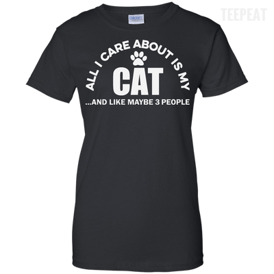 CustomCat Apparel Ladies Custom 100% Cotton T-Shirt / Black / X-Small All I Care About Is My Cat Women Tee