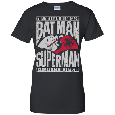 CustomCat Apparel Ladies Custom 100% Cotton T-Shirt / Black / X-Small Batman and Superman Ladies Tee